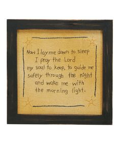 Look at this 'Now I Lay Me Down' Wall Art on #zulily today!