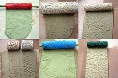 Making textured rollers with a hot glue gun. by carlene