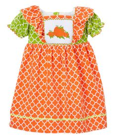 This Orange & Green Quatrefoil Apron Dress - Infant, Toddler & Girls is perfect! #zulilyfinds