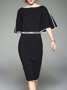 Shop Midi Dresses - Black Batwing Spandex Binding Plain Midi Dress online. Discover unique designers fashion at StyleWe.com.
