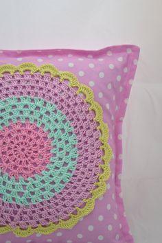 Pillow case with a crochet applique. $25.00, via Etsy.