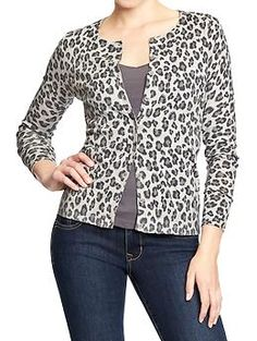 Show your animal instinct. Throw on some cords, a tee, spiky heels and voila. Grey Womens Leopard-Print Cardi: oldnavy.gap.com $24