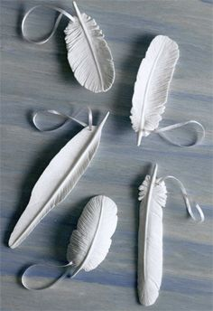 """porcelain feather ornaments """"perfect for feather tree. plan ahead for next x mas."""""""