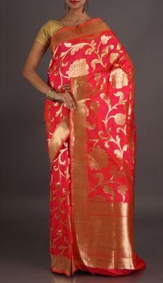 c284e57e6b74a0 Rashmi Bright Pink With Dazzling Gold Ornate Banarasi Brocade Silk Saree