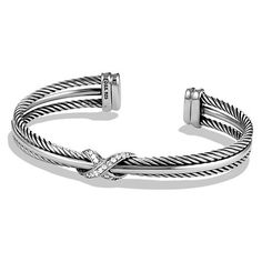 David Yurman X Crossover Cuff Bracelet with Diamonds ($875) ❤ liked on Polyvore featuring jewelry, bracelets, diamond jewelry, diamond bracelet, cuff bracelet, wide bracelet and cuff bangle bracelet