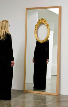 Mirror installation / Ron Gilad, reflective, only body, black dress, without face, paradox, controversial