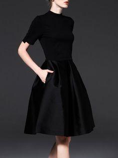 Black Elegant Short Sleeve A-line Midi Dress