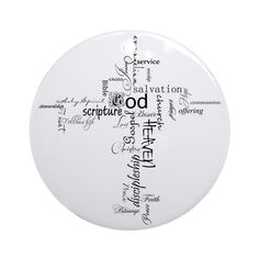 Christian cross word collage Round Ornament by ibelieveimages - CafePress Word Collage, Christmas Jesus, Ornaments Design, Xmas, Christmas Ornaments, Christian, Words, Weihnachten, Christmas Ornament
