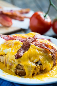 The Kentucky Hot Brown is a Kentucky original. This one is similar to the Hot Brown served at Ramsey's Diner in Lexington, KY. It has turkey ham, and tomato with a cream gravy, all covered in a mound of melted cheddar cheese, and topped with bacon.
