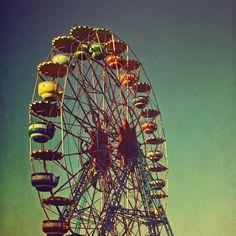 Ferris wheel print - 4x4 ferris wheel print polaroid style photo in turquoise blue and yellow - Stand Tall