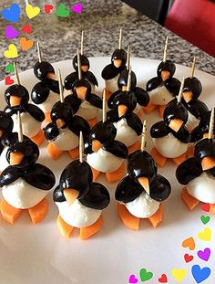 Olives and Mozzarella Penguins - Delicious Antipasto - Selma Yakut Gülcan â . - Olives and Mozzarella Penguins – Delicious Antipasto – Selma Yakut Gülcan – Peach Appetizer, Yummy Appetizers, Appetizer Recipes, Dinner Recipes, Christmas Snacks, Xmas Food, Christmas Recipes, Holiday Recipes, Cute Food