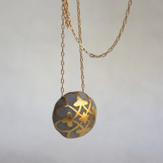 Praline Ball Necklace Goldplated w/ concrete, now featured on Fab.