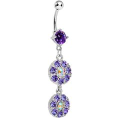 Purple Gem Dazzling Double Drop Dangle Belly Ring | Body Candy Body Jewelry