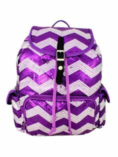 $21.50 Purple Sequined Chevron Backpack
