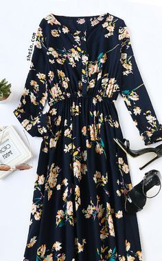 Navy Floral Print Button Front Maxi Dress