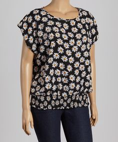 Another great find on #zulily! Libian Black & White Daisy Shirred Top - Plus by Libian #zulilyfinds
