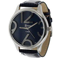 Geneva Platinum Ladies' Simulated Patent Leather Watch, Black