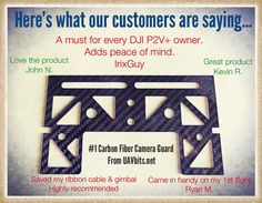 UAVbits.net #DJI #phantom See what our customers are saying about the #1 carbon fiber camera guard...