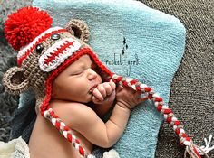 Crochet Sock Monkey Hat, Newborn Sock Monkey, Sock