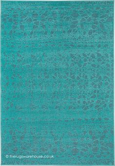 Dafne Flowers Turquoise Rug, A 100% Advanced Soft Polypropylene Italian  Designed Outdoor Rug (
