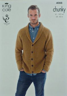 Knitting Pattern Mens Boys Roll Collar V Neck Cardigan Chunky King Cole 4088   eBay