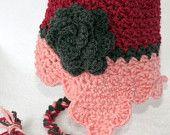 little girl crochet pink valentine hat