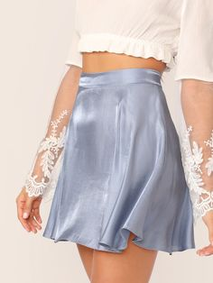 Shop Solid Satin Skater Skirt at ROMWE, discover more fashion styles online. Classy Outfits, Pretty Outfits, Vintage Outfits, Casual Outfits, Cute Outfits, Look Fashion, Fashion Outfits, Fashion Design, Gothic Fashion