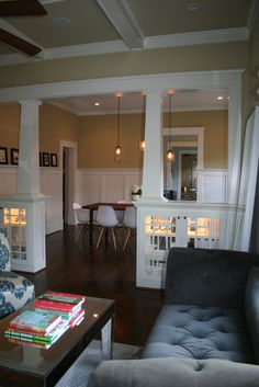 lit cabinets as a room divider - love it!