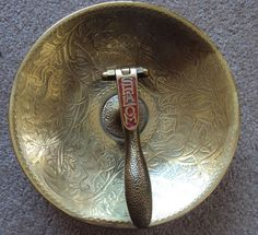 Vintage Brass Shalom Nut Cracker Bowl Made in Isreal