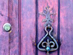 Large Old World Door Knockers | Old purple door with order door knocker and lock