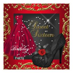 Sweet+Sixteen+16++Birthday+Party+Red+Gold+Dress+Personalized+Invite
