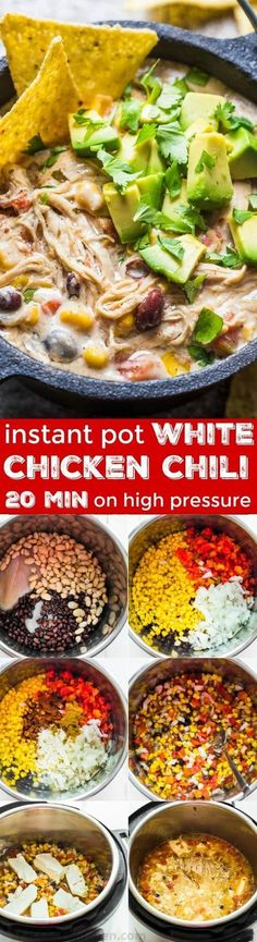 instant pot chicken recipes This White Chicken Chili is done in less than an hour start to finish in the Instant Pot with melt-in your mouth tender chicken. Stir everything together in the instant pot, top with cream cheese and set for 20 minutes. Crock Pot Recipes, Pastas Recipes, Chili Recipes, Soup Recipes, Chicken Recipes, Cooking Recipes, Recipies, Recipe Chicken, Jalapeno Recipes