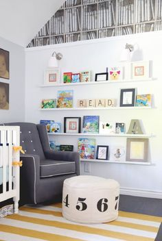 Modern Library-themed Nursery - love the clean lines and fun design! Modern Library-themed Nursery – love the clean lines and fun design!-- Begin Yuzo --><!-- without result -->Related Post A cute baby room decoration of padded stars and po. Book Themed Nursery, Nursery Themes, Storybook Nursery, Nursery Ideas, Nursery Modern, Nursery Neutral, Bedroom Modern, Baby Bookshelf, Nursery Book Shelves