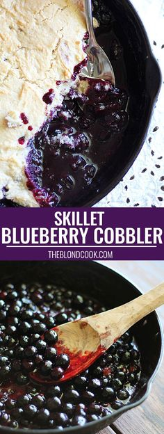 Blueberry Cobbler prepared in a cast iron skillet -- so easy and delicious! Make this comfort food to serve as a special occasion, or treat yourself to something bluetiful.