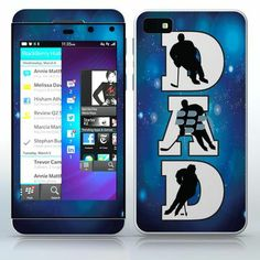 Hockey Dad  Players, silhouettes on huge letters  phone skin sticker for Cell Phones / Blackberry Z10 | $7.95