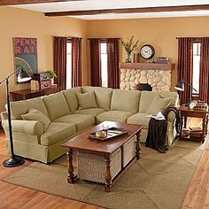 from jc penney friday twill 3 pc slipcovered sectional loden linden