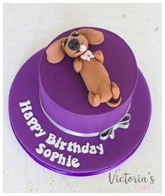 Purple dashshund birthday cake