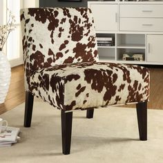Cowhide Chair Armless Accent Chair Imitation Cow Hide Look Faux Fabric Uphols...