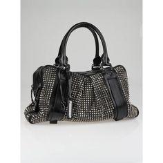 Burberry Prorsum Black Leather Knight Studded Bag