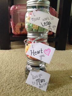 Cute homemade candy jar presents for boyfriend!