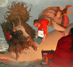 """Contents of . - Wang Yiguang (Chinese: 王沂光) is a modern Chinese painter notable for his Tibetan paintings of flying people, yaks and sheep. The """"humbly Beauty"""" of Tibet strucked him. Bev Doolittle, Modern Art, Contemporary Art, Art Japonais, Traditional Paintings, Art Fair, Chinese Art, Drawing S, Illustration Art"""