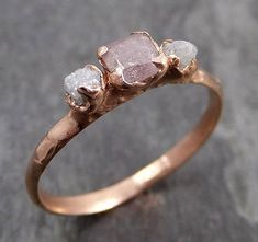 Natural Fancy Cut Pink Diamond Engagement Ring Rose Gold Wedding Ring Uncut Stacking Ring Rough Diamond Ring byAngeline Ring with Raw Organic Conflict Free Diamonds As Individual as You are! This ring is available here this one is a size 6 and it c Pink Diamond Wedding Rings, Pink Diamond Engagement Ring, Raw Diamond Rings, Pink Ring, Rough Diamond, Rustic Engagement Rings, Pink Diamond Ring, Pink Diamonds, Halo Rings