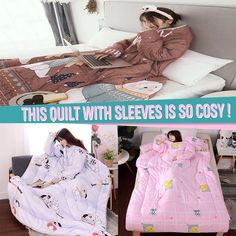 😍 Winter Lazy Quilt with Sleeves - Herzlich willkommen Lazy, Old Sheets, Diy Crafts To Do, Bff, Relaxed Outfit, Christmas Aesthetic, Useful Life Hacks, Beautiful Christmas, Craft Tutorials