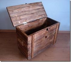 Homemade trunk made from scrap pallet wood.