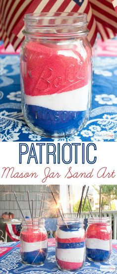 Check out this video tutorial to learn how to make American flag mason jars for July Kids will love this easy sand art project. 4. Juli Party, 4th Of July Party, Fourth Of July, Party Fun, Party Ideas, Summer Crafts, Holiday Crafts, Holiday Fun, Crafts For Kids