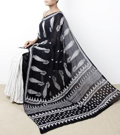 Black and White Saree with Kantha Work by Indiana