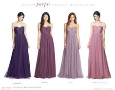 Get the mix and match or mismatched bridesmaid look with these purple mismatched bridesmaid dresses in shades from pale lavender to dark plum.