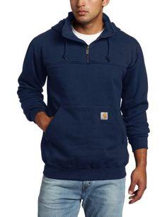 Carhartt Men's Heavyweight Hooded Zip Mock Sweatshirt, New Navy, XX-Large Online Clothing Stores, Hand Warmers, Rib Knit, Hooded Sweatshirts, Hoods, Cool Things To Buy, Mens Fashion, Zip, Navy