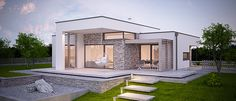 House Outer Design, House Fence Design, Small House Design, Modern House Design, Simple Bungalow House Designs, Narrow House Designs, Bungalow House Plans, Flat Roof House, Facade House
