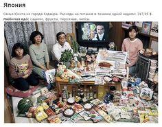 Япония: семья Укита Кодаиры Город  Расходы на продукты питания в течение одной недели: 37 699 йен или $ 317,25  Любимые блюда: сашими, фрукты, пирожные, чипсы